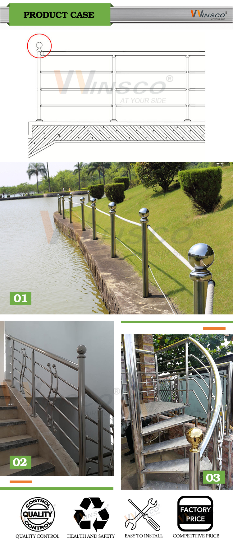 Good quality hollow section Mirror polished top mounted 304 grade stainless steel handrail ball for railing system