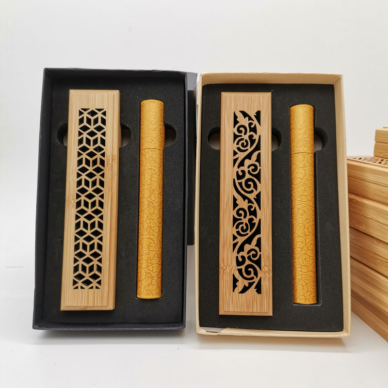 Custom Exquisite Pattern Mini Incense Burner Wood Box Incense Burner, Bamboo Paper Tube Incense Burner Gift Set