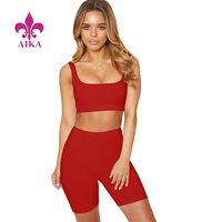 2 Piece Set Women Crop Tops Shorts Sweat Suits Sexy Club Outfits Two Piece Yoga Bra Matching Sets