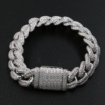 High Quality Hip Hop Bracelet Jewelry 15MM 8inch White Gold Diamond Cuban Bracelet