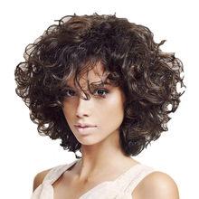 Бразильские женские волосы парик женские черные короткие афро кудрявые парики 34 см кудрявые волосы короткие косплей парики бразильские во...(Китай)