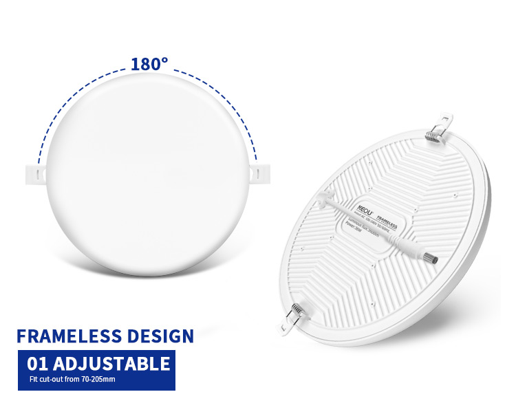 super slim led panel light surface mounted 24w round rimless panel light