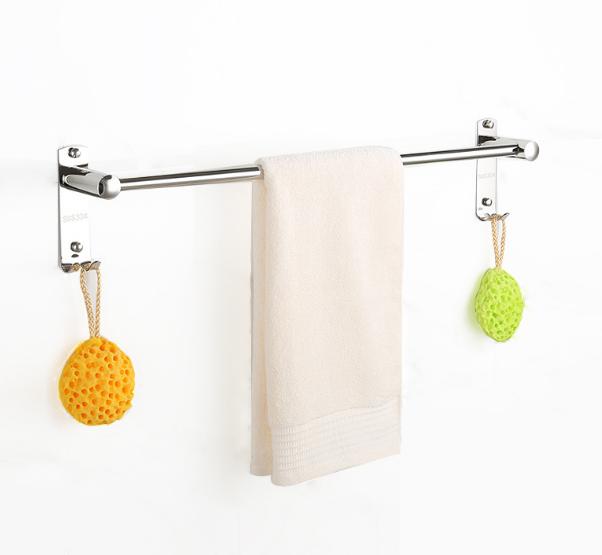 Alta Qualidade Toalhas de Banho de Aço Inoxidável Toalha Bar Wall Mounted SUS304 Rack Com Ganchos Cromado Barra de Toalha Para Banheiro Cozinha