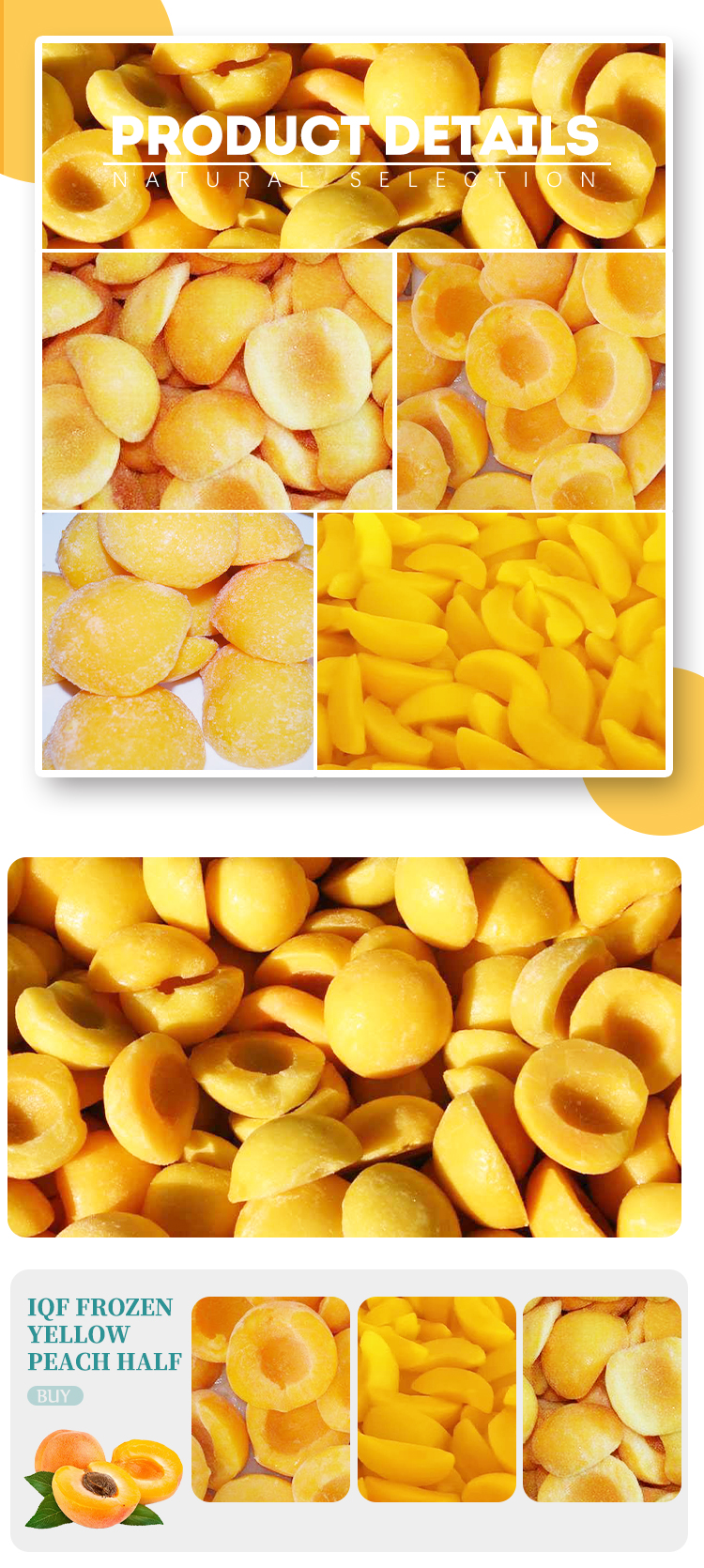 IQF yellow peach halves nutrition high quality