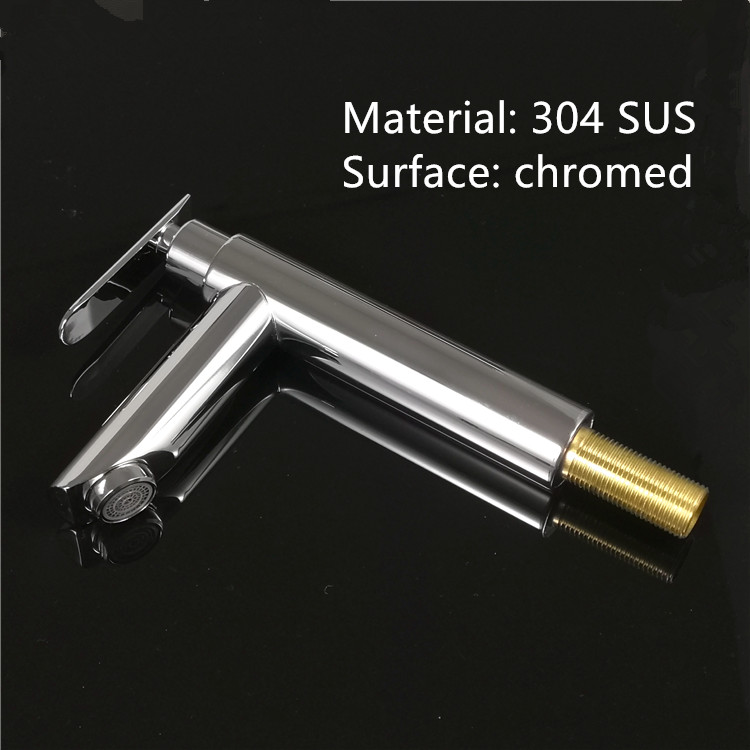 Wholesale 304 stainless steel SUS upc watermark cold water ceramic cartridge wash basin faucet by brushed