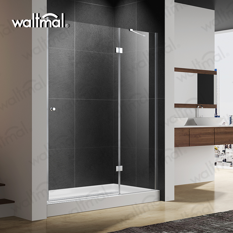 Tempered glass frameless hinged glass bathroom shower door