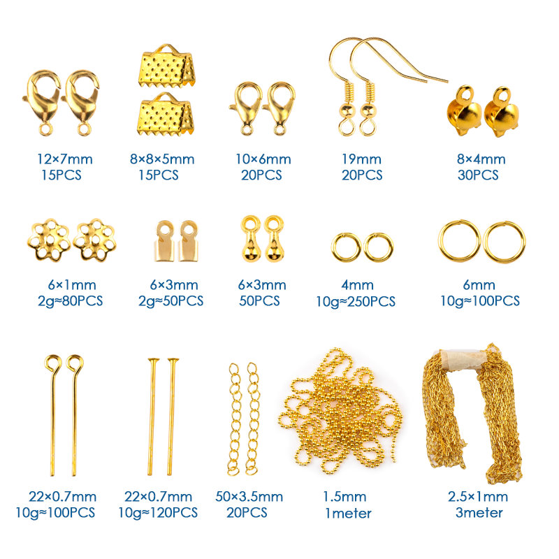 Plastic Box Jewelry Findings Tool Set Open Jump Ring Eye head Pins Lobster Clasp Hooks Earring Hooks Extend Chain <strong>Accessories</strong>