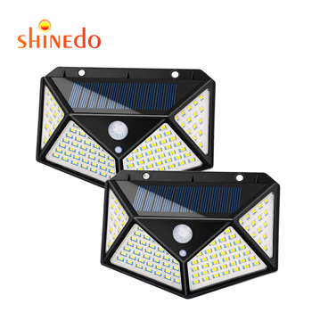100 led solar motion sensor light solar wall lamp for garden