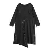 Женское Ассиметричное платье EAM, черное платье с длинным рукавом и кнопками, с круглой шеей, весенне-Осенняя мода 2020 1N488(Китай)