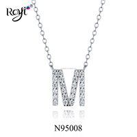 925 Sterling Silver Classic Initial Letter M Diamond Letter Pendant Necklace