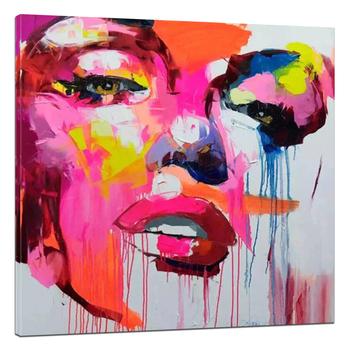 Moderne Abstrait Pop Couteau Visage Peinture