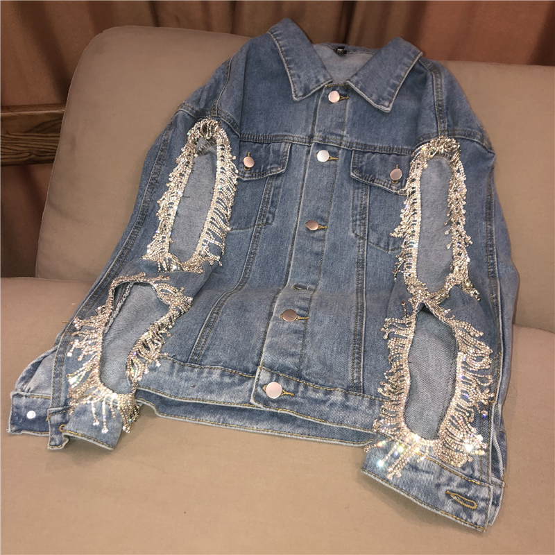 luxury ladies denim jacket oversize fashion women rhinestones fringes beading jean ripped big <strong>holes</strong> distressed long denim coat
