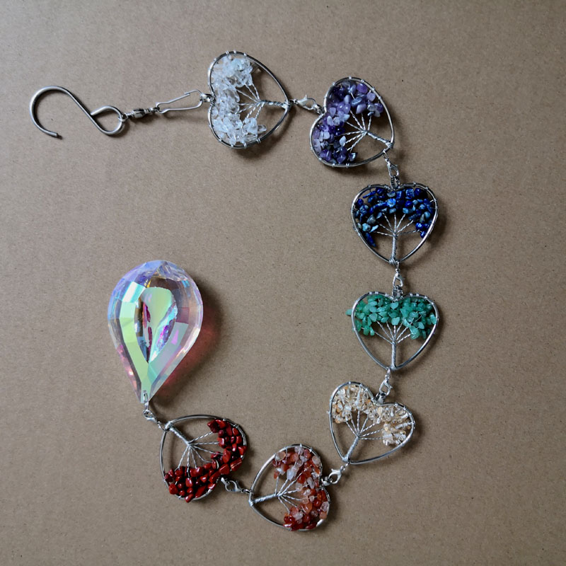heart shape semi-precious chakra hanging decoration