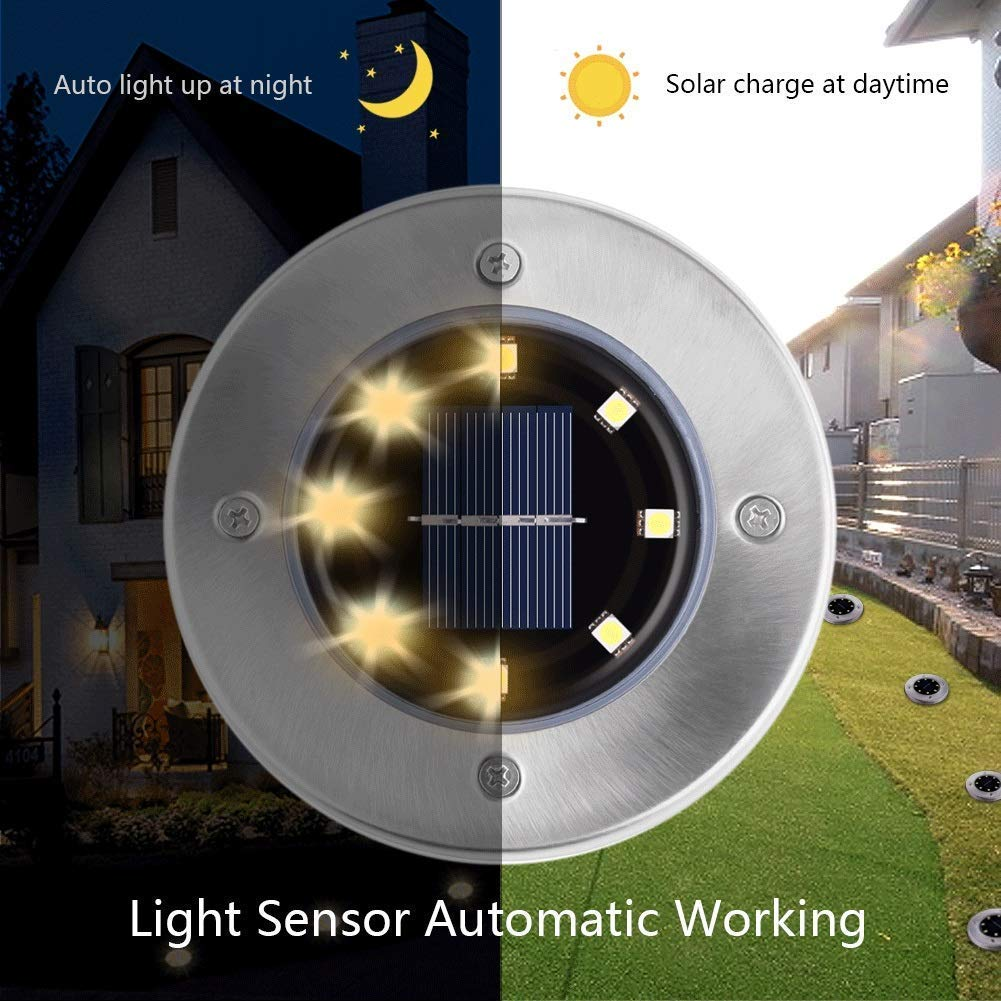 solar light solar led ground , 8LED Solar Garden Lights Waterproof in-Ground Outdoor Solar Powered Disk Lights for Lawn, Pathway