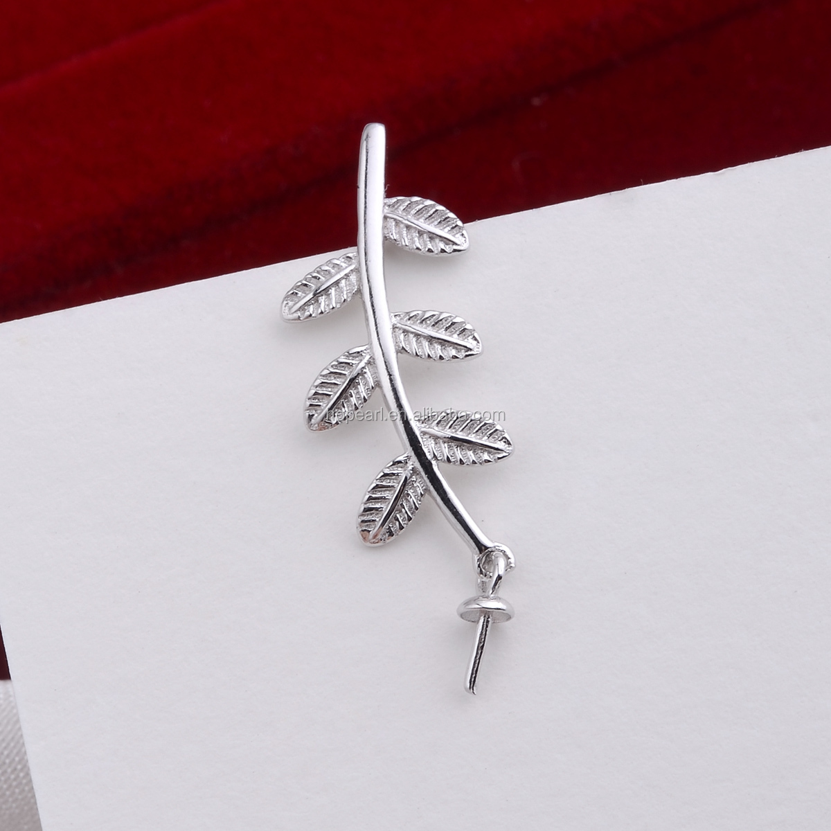 SSP241 Little Leaves Pendant Pearl Jewelry Mounting 925 Sterling Silver Charms Findings for Drop Pearl