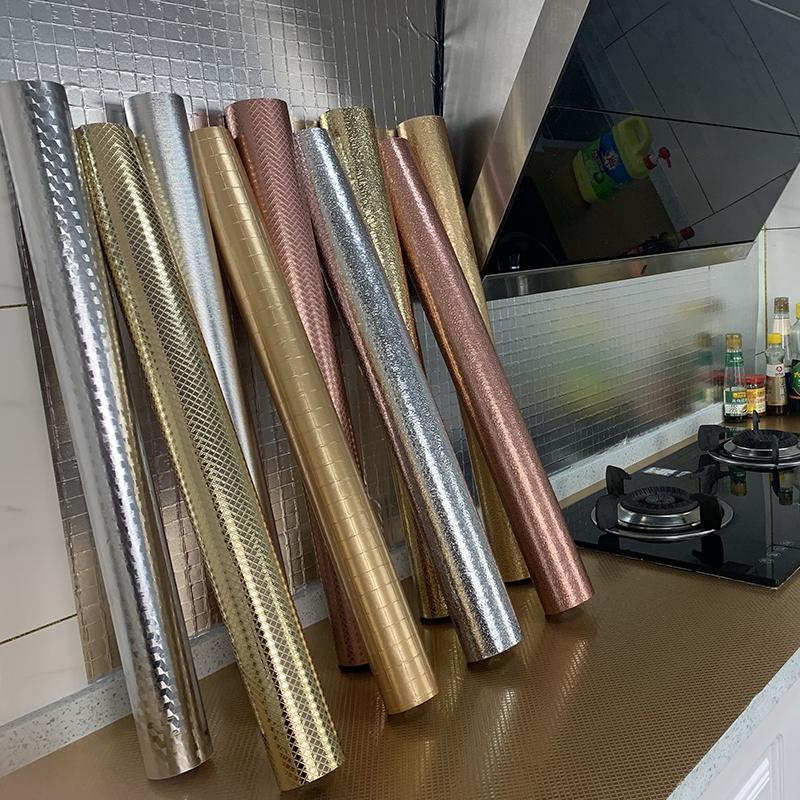 Кухня маслонепроницаемый щитка водонепроницаемый обои и наклейки самоклеящиеся обои из алюминиевой фольги для кухни
