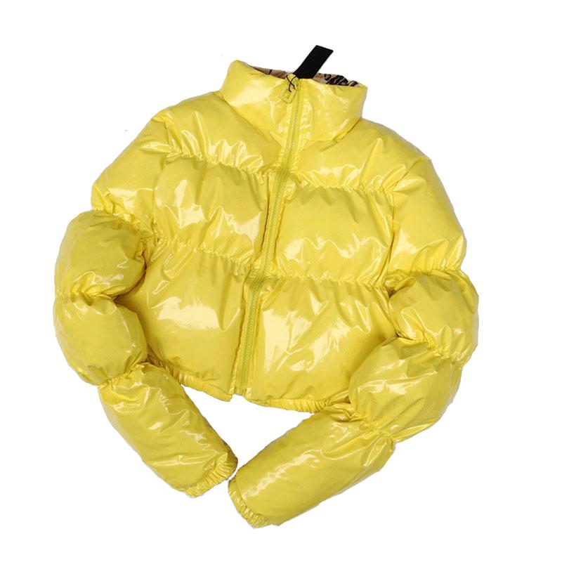 Nuovo Bicchierino di Modo di Vestiti di Inverno Delle Donne Ritagliata Giù Parka Verde Lucido Palla sacchetto di Bolla Giacca Cappotto