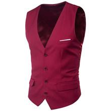 Красный приталенный мужской жилет, жилет, весна 2020, новинка, приталенный костюм с v-образным вырезом, мужские жилеты, свадебные, вечерние, смо...(Китай)