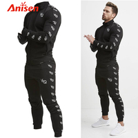 new design mens slim fit zip up sweat jogging tracksuit fitness sports gym athletic sweat tracksuits