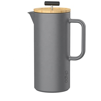 DHPO New Arrival Ceramic French Press Coffee Pot with Bamboo Lid, Grey Color