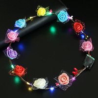LED Light Up Flashing Flower Crown, Hairband Garlands Women Halloween Christmas Glowing Wreath Headband