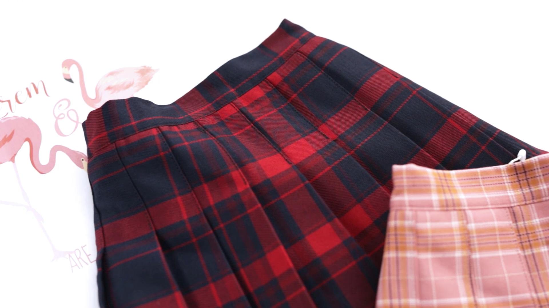 बच्चों लड़कियों Pleated प्लेड स्कर्ट उच्च कमर लड़की स्कूल वर्दी मिनी चाकू Pleated स्कर्ट