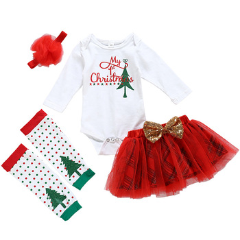 Baby Girl's Christmas Tree Print Romper Dress with Headband and Leg Warmers 3 pcs set