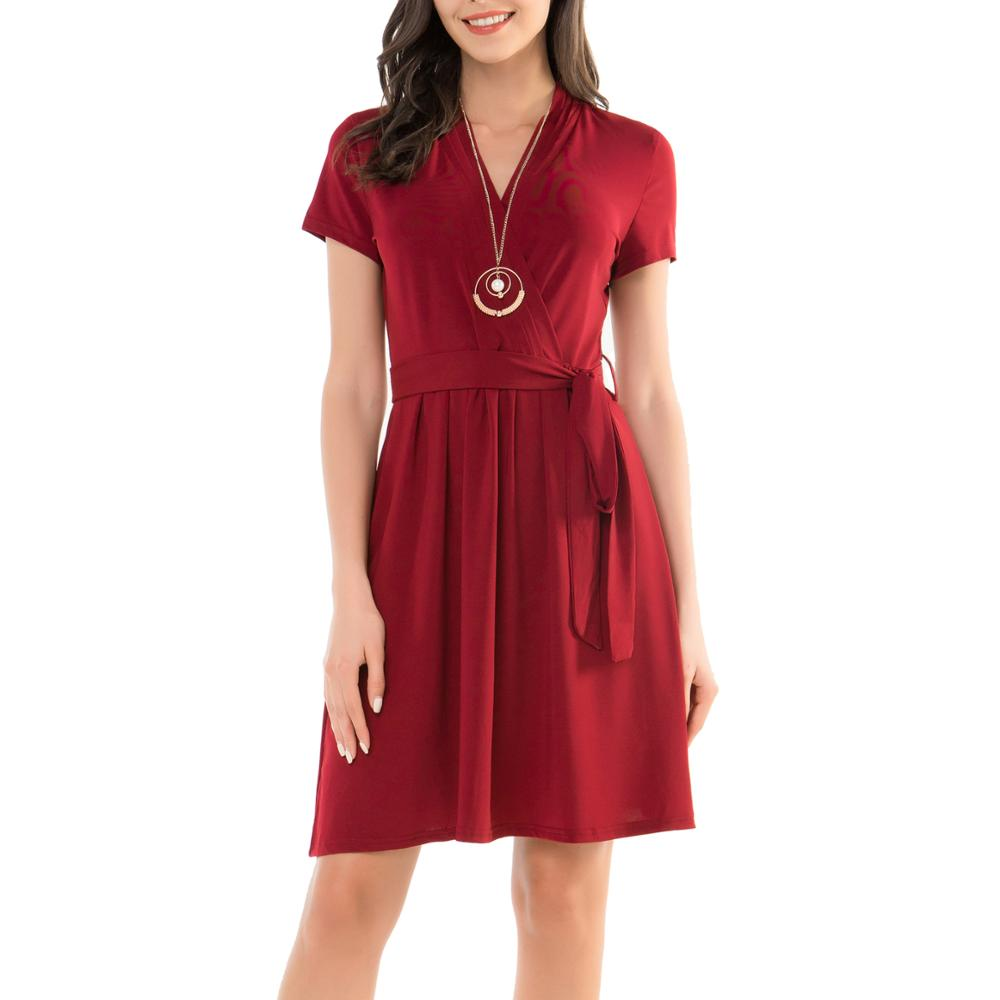 Hot Sell Fashion Elegant Women Ladies Formal <strong>Faux</strong> <strong>Wrap</strong> Midi Dress
