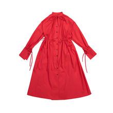[EAM] Для женщин Красная с завязками больших Размеры платье футболка новый со стоячим воротником с длинным рукавом свободный крой модные тенд...(Китай)