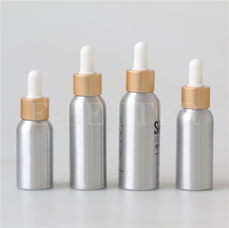 30ml 50ml 100ml serum essential oils aluminum bottle with glass dropper