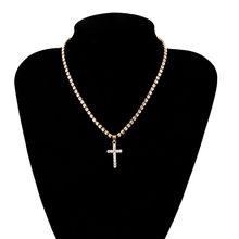 Крест с кристаллами высокого качества, колье с подвеской, винтажные Стразы с изображением Иисуса Христа, цепочка, ожерелье, Очаровательная ...(Китай)