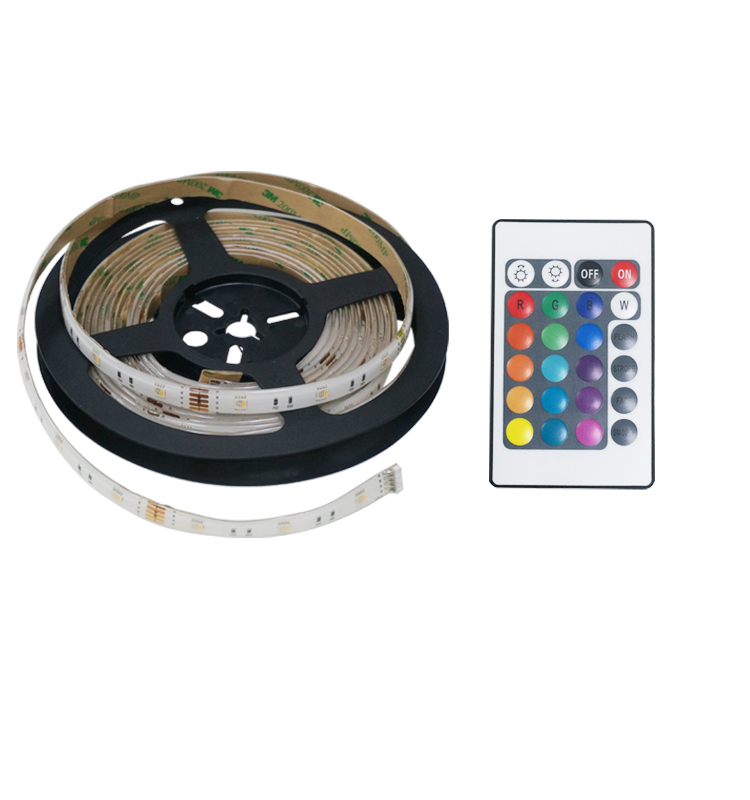 Top-rated full color RGB+Warm white led strip lights 5050 smd IR remote control DC 12V 4 in 1 led
