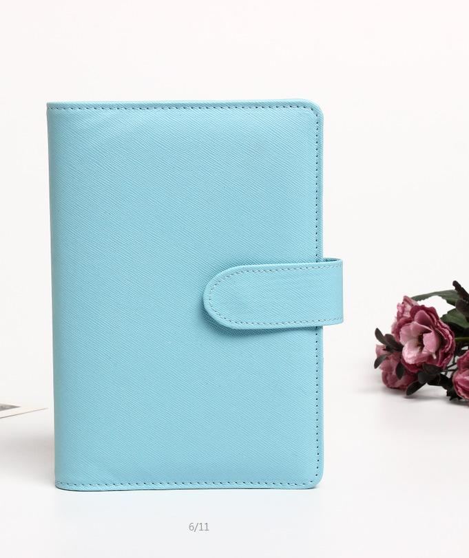 A6 PU Leather Notebook Binder 6 Round Ring Binder Cover Refillable Paper