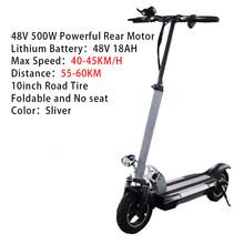 48V 500W электрический скутер для взрослых 26AH батарея на большое расстояние 100 км с сиденьем 10 дюймов складной электрический самокат(Китай)