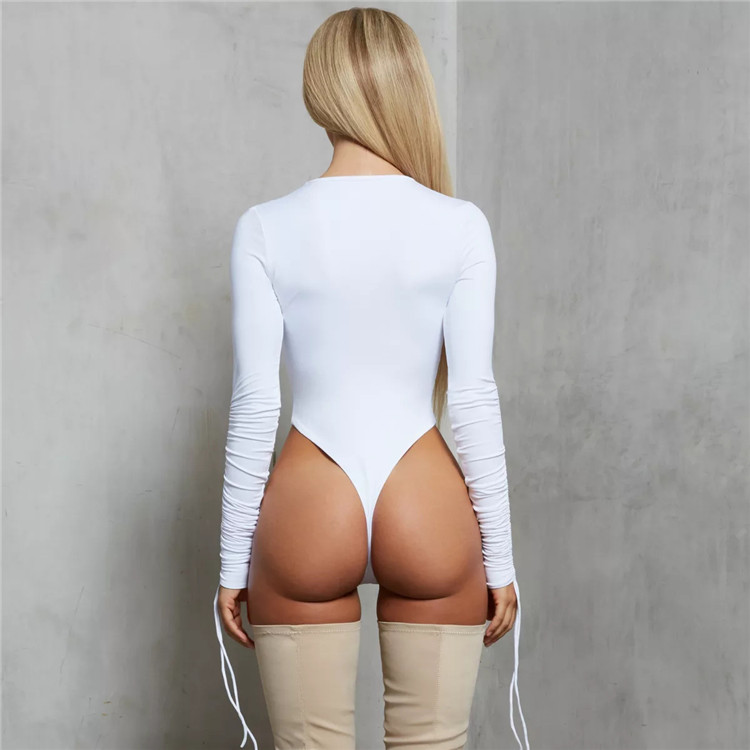 Women Matching Clothing Sets Tight Low Neck Bodysuit