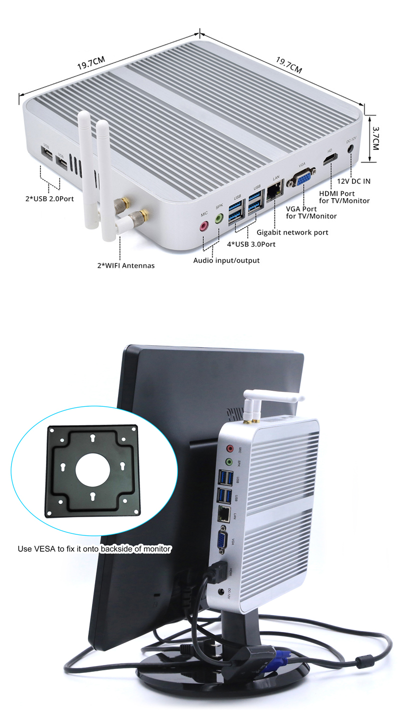 Gaming i7 Fanless Mini PC 12V X86 Windows7 Linux HTPC Media Center Haswell Mini Computer Barebone ITX Case All-In-One Desktop PC