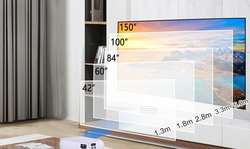 Projecteur LCD 2020 HTP FHD 1920x1080P, 4000lumen, à usage domestique