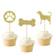 Dog Cupcake Toppers Gold Puppy Cupcake Toppers Decoration Supplies for Pet Theme Birthday Party