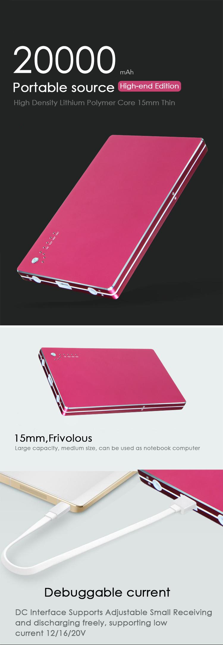 Kapasitas Tinggi 20000 MAh Charger Laptop Power Bank untuk Notebook, Portable Charger 20000 MAh Power Bank