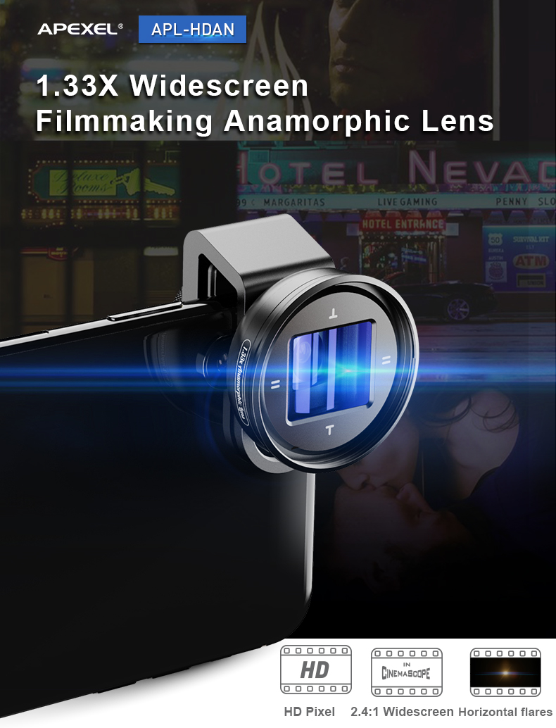 Apexel Movie Videomaker Filmmaker Universal Phone Lens 1.33X Wide Screen Mobile Phone Anamorphic SLR  Lens