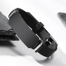 Мужской стальной браслет Vnox, черный широкий браслет на запястье из мягкого силикона, для мужчин, подарок мужу-герою(Китай)
