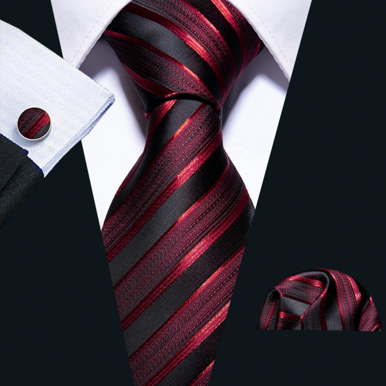Custom Fashion Black Stripe Red Men Silk Ties for Business Wedding