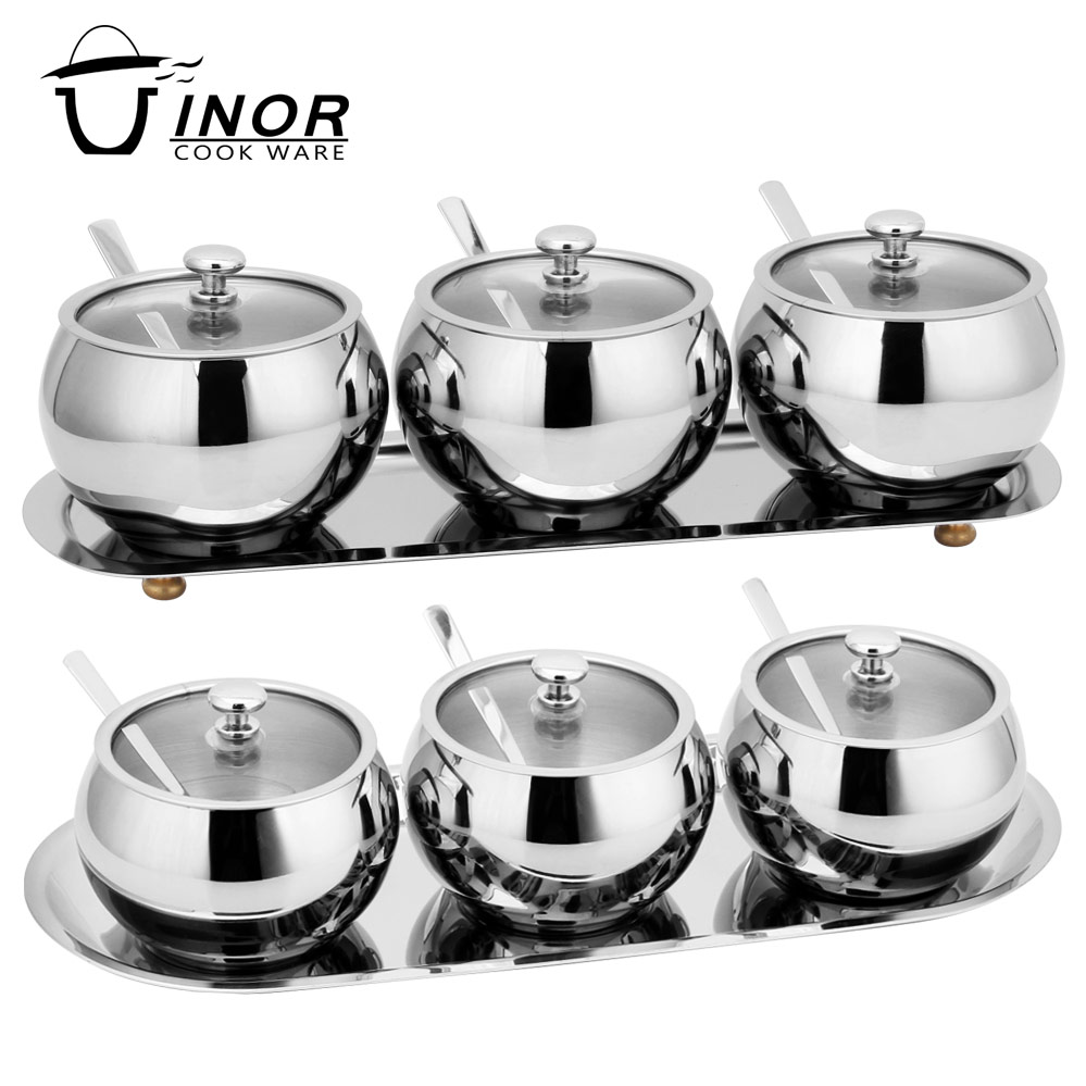 3 pcs set stainless steel seasoning containers sugar bowl with lid