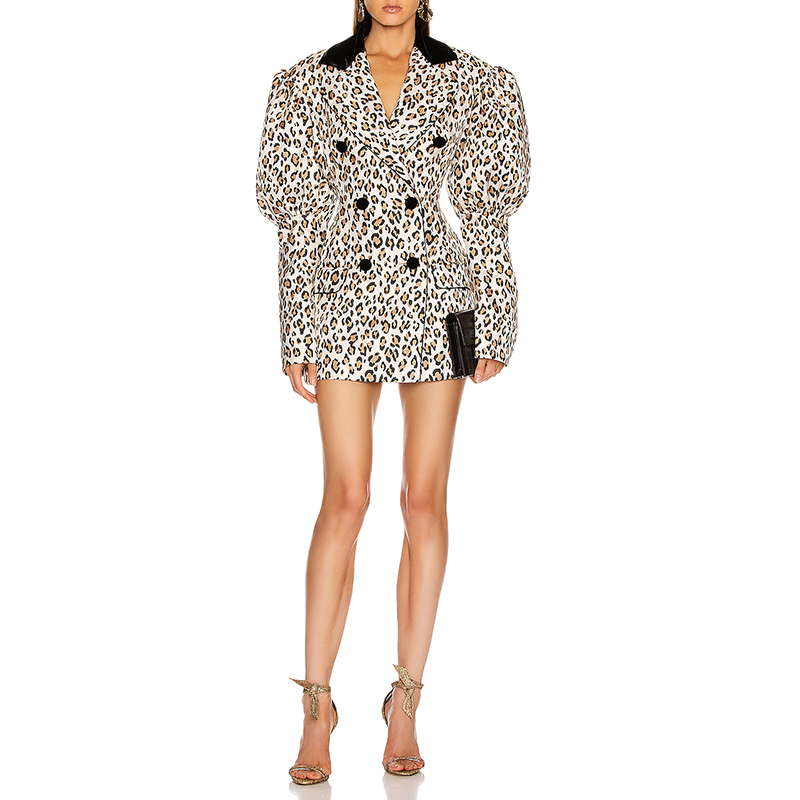 fashion Spring women padded shoulder leopard print jacket mini dress