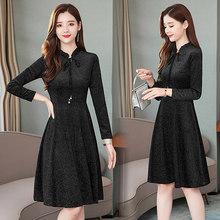 Женское бархатное платье миди, элегантное винтажное платье с длинным рукавом размера плюс 4XL, вечерние платья, Осень-зима 2019(Китай)