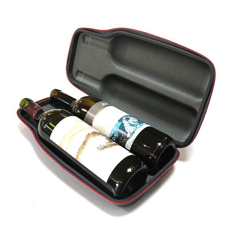 2020 hot sale custom Luxure leather pu eva foam moulded Waterproof wine bottle glasses carrying gift cases bag