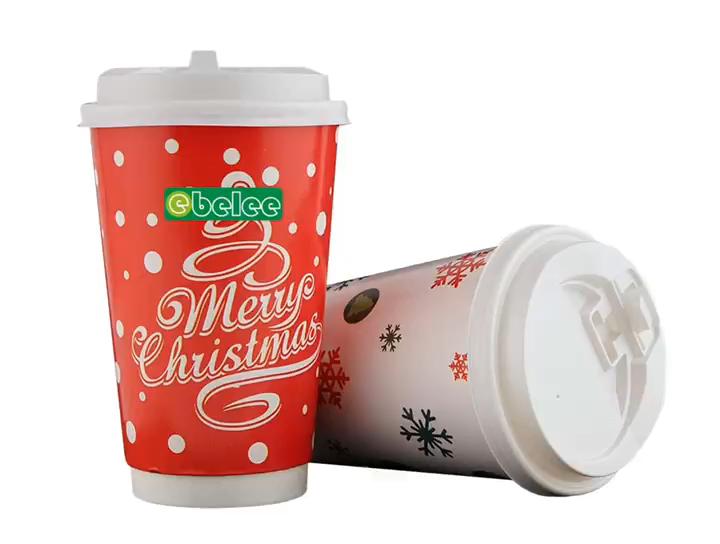 Biodegradable Celebration Cartoon Paper Cups Disposable Christmas Paper Cups Hot Sale
