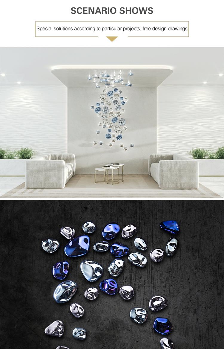 Hot sale custom hotel lobby colorful glass modern big project chandelier pendant light