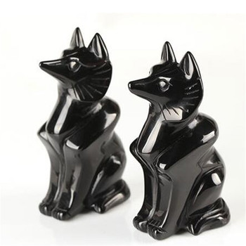 Wholesale wonderful Obsidian quartz crystal handmade carving fox for gift