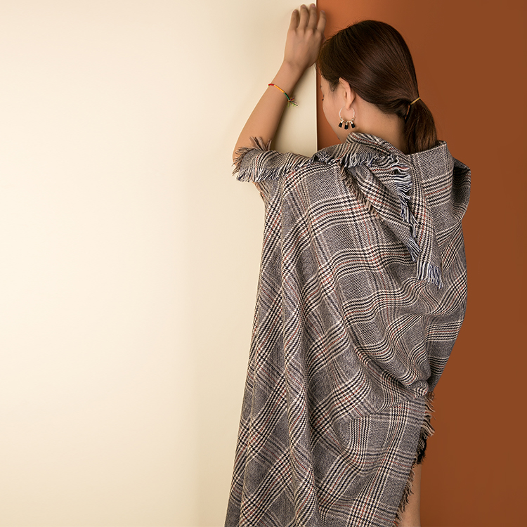 Hot sale Long Plaid Warm <strong>Scarf</strong> 100% <strong>Merino</strong> <strong>Wool</strong> Plaid lady shawl